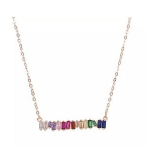 Jewelry - Gold Filled Rainbow Baguette Necklace